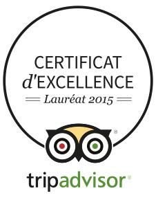 Certificat d'excellence Tripadvisor 2015